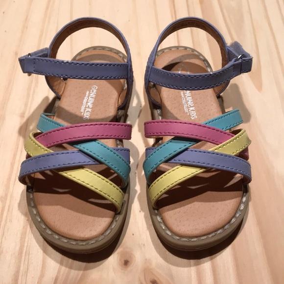 a47deb217f21 Little toddler Oshkosh pastel rainbow sandals. M 5a456b8605f430461e0e5cde